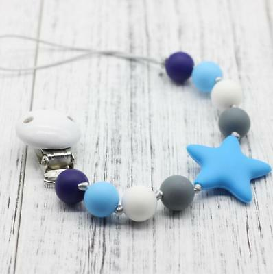 DIY 1X Wooden Baby Pacifier clip Food grade silicone bead Teething Chain Toys