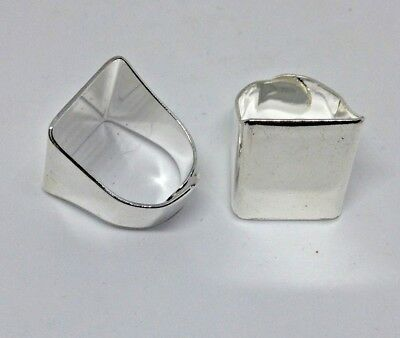 2 x Chunky Silver Plated Ring Blanks - 20 x 17 mm  pad - Adjustable