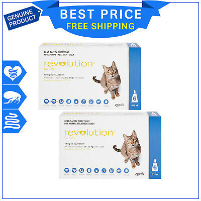 Revolution BLUE for Cats 2.6 to 7.5 Kg 12 Pipettes Heartworm Flea Prevention