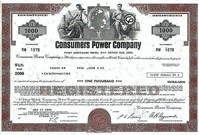 Consumers Power Company, 1976, 9 3/4% First Mortgage Bond due 2006 (1.000 $)