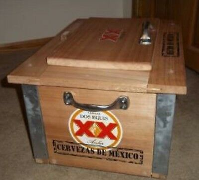 *NEW  DOS EQUIS  XX  TECATE  BEER  WOODEN  ICE CHEST  COOLER  METAL Mexico RETRO