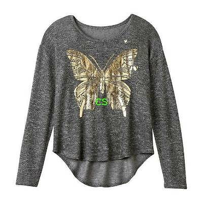 NWT $30-Girls Plus Size SO Gray Butterfly Scoopneck Long Sleeve High Low Top- 20