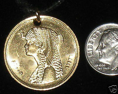 Lot Of 2  Egypt Egyptian Queen Cleopatra Gold Tone Charm Coin Pendant Necklace
