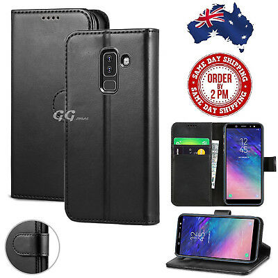 ef658338a64 For Samsung Galaxy A8 2018 pu Leather Black Wallet Magnetic Flip Card Case  Cover