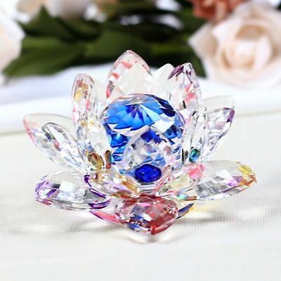 Crystal Lotus Figurines Glass Flower Mini Paperweight Fengshui Crafts Home Decor