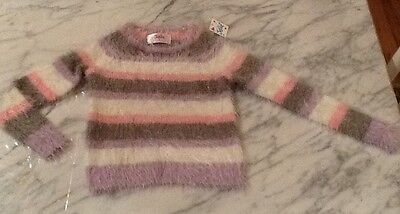 NWT, Toddler Girl JUSTICE Pink Purple Gray Fuzzy Striped Sweater Sparkle Size 5