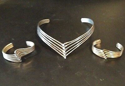 Mid Century Modern Sterling Silver Wavy Choker Necklace w Two Matching Bracelets