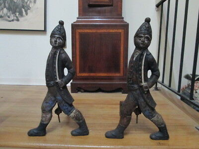 Antique Pair Of Cast Iron Hessian Soldier Fireplace Andirons Estate