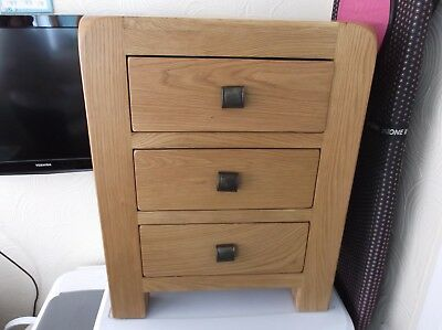 Sway Oak 3 Drawers Bedside Table, Solid Wood