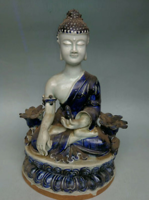 28CM collect China old Blue and white Porcelain Pottery ceramics buddha QTTV