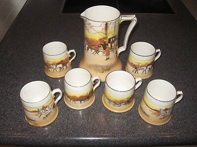 "Royal Doulton Pitcher Hunt Scenes Fox Hounds Horses Carriage 7.25"" x 5"" Vintage"