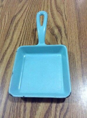 Enameled Cast Iron Square Skillet Aqua Blue Color Marked Pw S1