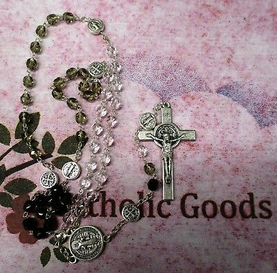 5 x 6 mm Glass Crystal Bead St. Saint Benedict Tricolor Rosary