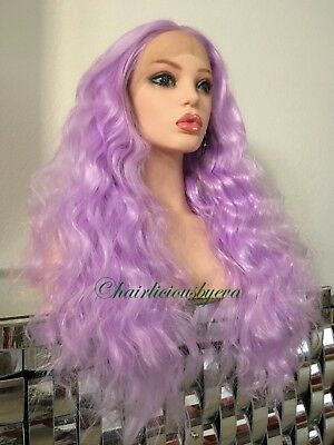 Lilac Lavender Light Purple Long  Wig Swiss Lace Wavy Lace Front Ombré Heat Ok