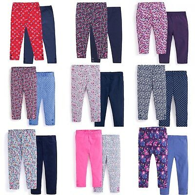 Jojo Maman Bebe 2-Pack Essential Printed & Plain Leggings RRP £16 3months-6years