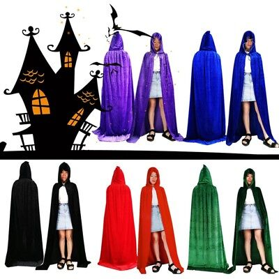 Medieval Velvet Hooded Cloak Wicca Long Robe Halloween Witchcraft Adult Capes US