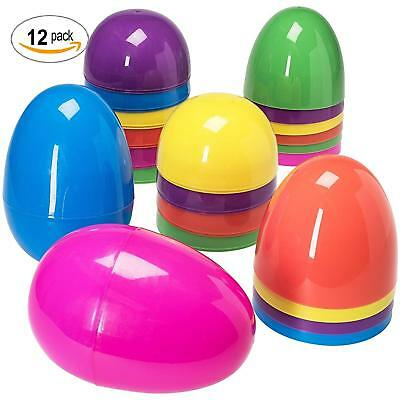 Jumbo 12 Assorted Plastic Easter Eggs 6 In Tall Can Be filled with Candy or Toys