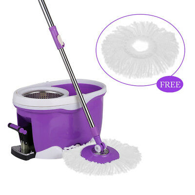 Rolling Spin Mop Hands-free 360 Foot Pedal Rotating Bucket Fl. Cleaning Set Wash