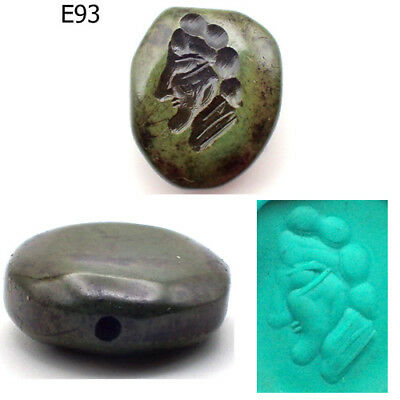 Rare Stunning Old Intaglio Greek King Face Turquoise Stone Bead #E93