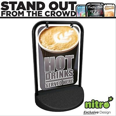 Hot Drinks Served Here Swinging Pavement Sign Outdoor Display Shop Coffee Cafe