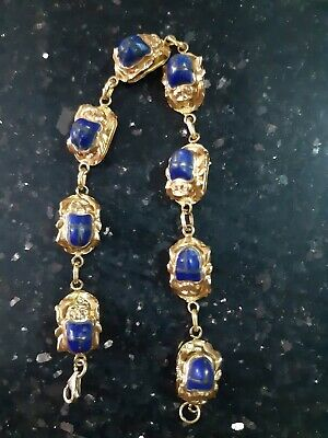 Rare Egyptian Stamped18K Solid Yellow Gold Lapis SCARAB Bracelet Unisex!By Order