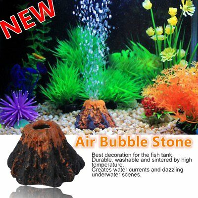 Fish Tank Aquarium Rockery Volcano Shape Air Bubble Stone Ornament Decorati