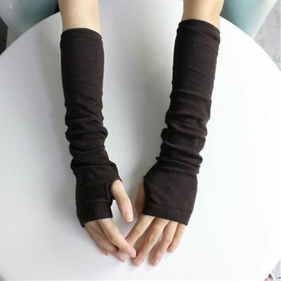 Black Trendy Mittens Warm Winter Female Warmers Fingerless Long Gloves Arm