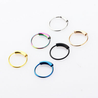 Surgical Steel Septum Clicker Nose Ring Ear Helix Tragus Cartilage Hoop Piercing
