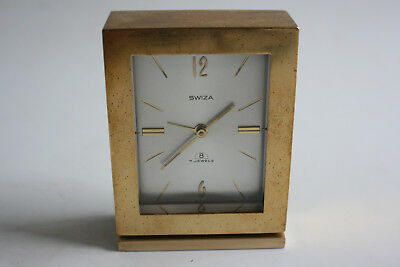 SWIZA 8 Day 7 Jewels Brass Mantle Alarm Clock - SWISS MADE - Working