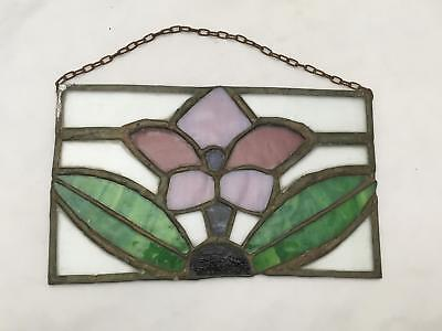 "Vintage ""Stained"" or Leaded Glass Window Decoration / Wall Hanging FLOWER"