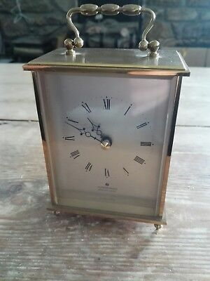 VINTAGE JUNGHANS MANTLE CARRIAGE CLOCK SOLID BRASS  MODEL NO  W726a