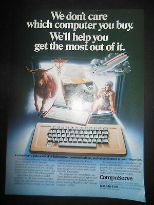 Vintage 1980's CompuServe Magazine Print Ad World at your Fingertips Computers