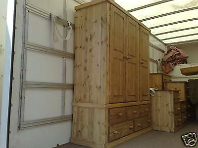 Handwaxed Wentworth Rustic Solid Pine Triple 5 Drawer Wardrobe No Flat Packs