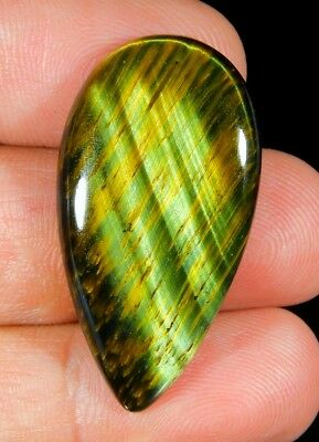 29 Ct Natural Blue Pietersite Fire Tiger's Eye Pear Cabochon Loose Gemstone B218