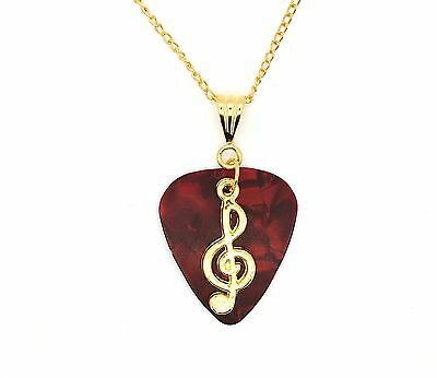 Red Guitar Pick With Treble Clef On Gold Plated Chain Necklace Gift Idea