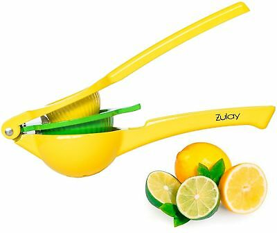 Zulay Home Kitchen Metal Lemon Yellow Lime Hand Squeezer Manual Citrus Press