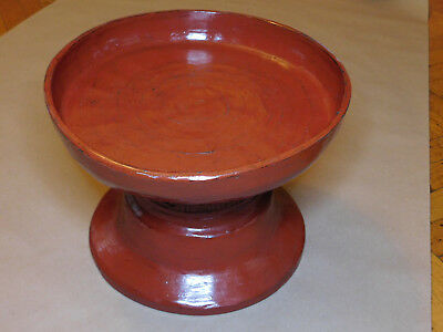Original Antique Buddhist Used Red Lacquer Offering Tray From Thailand / Burma