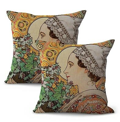 US SELLER-set of 2 art nouveau Alphonse Mucha thistle home decor pillows