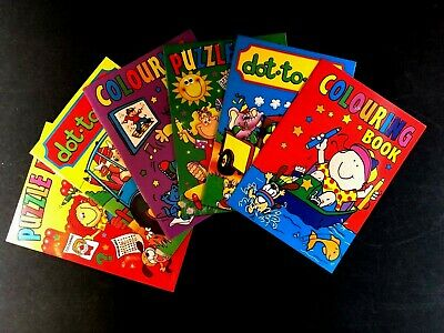 6x A6 MINI CHILDREN'S COLOURING BOOKS & DOT 2 DOT & PUZZLES PARTYBAG FILLER KIDS