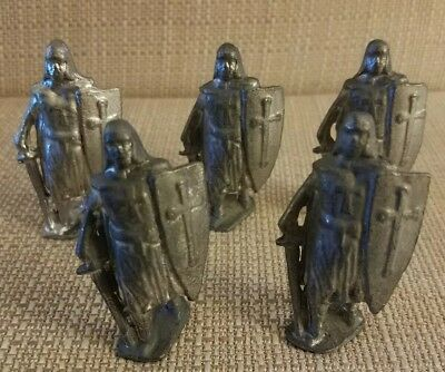 Lead Medieval Knights Crusaders With Shields Lot Of 5 Ls55