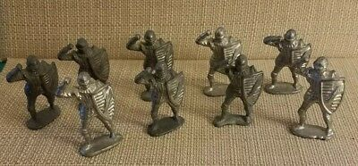 Lead Medieval Knights Unpainted Lot Of 9 Ls54