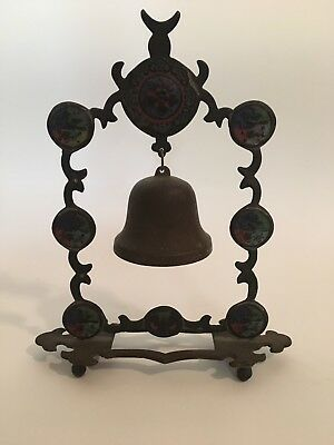 Antique Chinese Hanging Temple Bell Buddhist Gong Beautiful Enamel Colors 9""