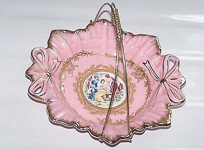 antique Pink Victorian gold gilded G.N.A. Fine China candy serving dish plate