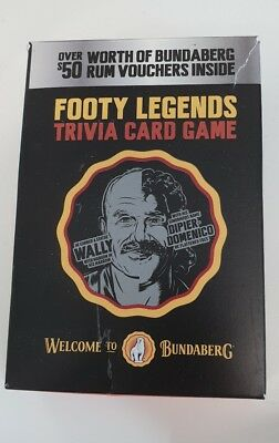 bundaberg rum collectable footy legends trivia card game set with vouchers
