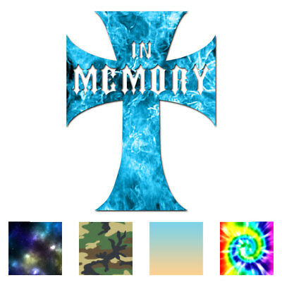 In Memory Cross Memorial - Decal Sticker - Multiple Patterns & Sizes - ebn2328