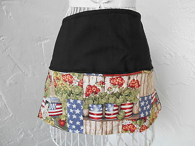 3 Pocket Server Waitress Waist Apron Country Patriotic W/Wo Name Lady Pizazz