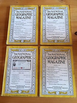 Vintage Lot of 4 The National Geographic Magazine 1944
