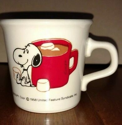 Vintage 1958 Snoopy Milk Glass Coffee Tea Hot Chocolate Mug Peanuts Collectible