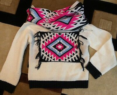 Limited Too Little Girls Size 5/6 Aztec Print Sweater With Knitted Scarf