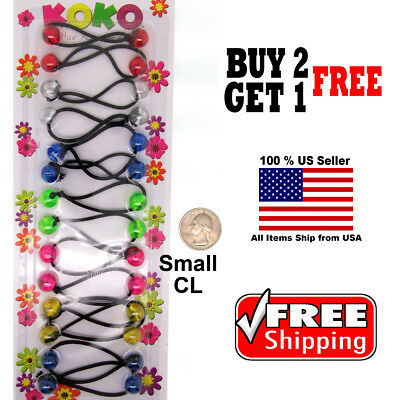 Colorful Braid Girls Kids Scrunchie Small Beads Hair Tie Ball Ponytail Holder